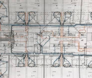 technische tekening voor installatie meerdere gebouwen en ruimtes